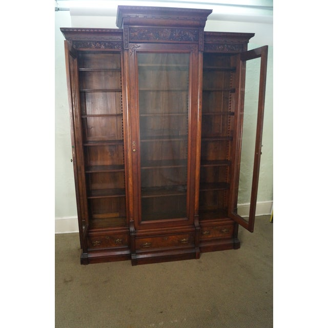 Antique Victorian Walnut Bookcase For Sale - Image 9 of 10