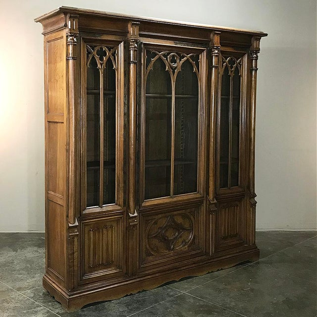 Gothic 19th Century Gothic Walnut Triple Bookcase For Sale - Image 3 of 12