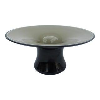 Vintage C.1970's Italian Vistosi Hand-Blown Triple Cased Murano Decorative Pedestal Center Bowl For Sale