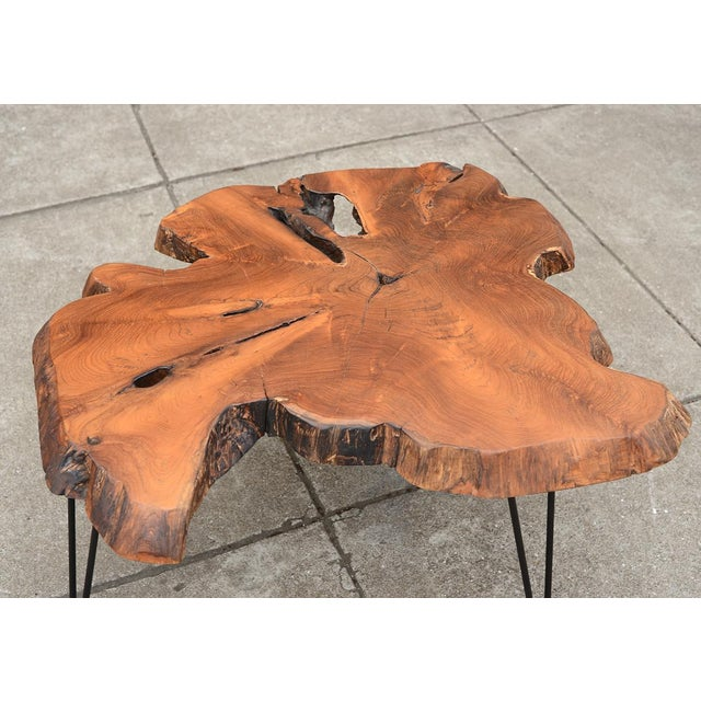 Brown Mid Century Modern Live Edge Coffee Table With Hairpin Legs For Sale - Image 8 of 10