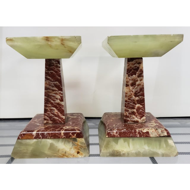 Late 19th Century Late 19th Century French Marble and Onyx Tazzas - a Pair For Sale - Image 5 of 7
