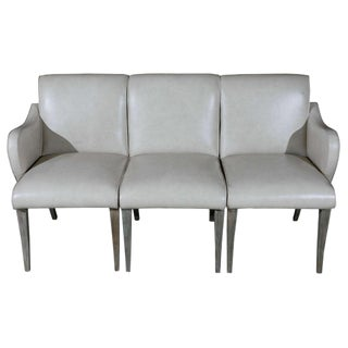 1940s Art Deco Gray Leather Settee For Sale