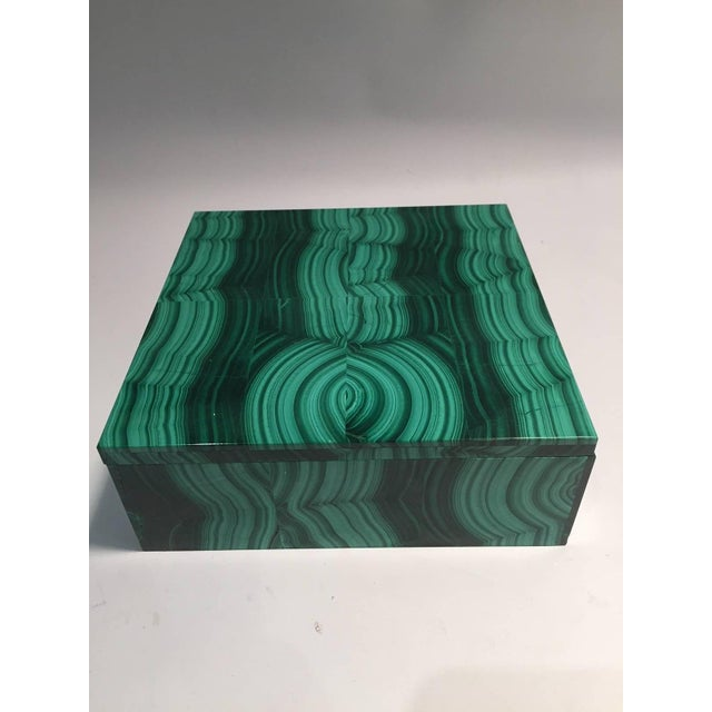 Large Square Bookmatched Malachite Box with Removable Lid Made in India For Sale - Image 4 of 9