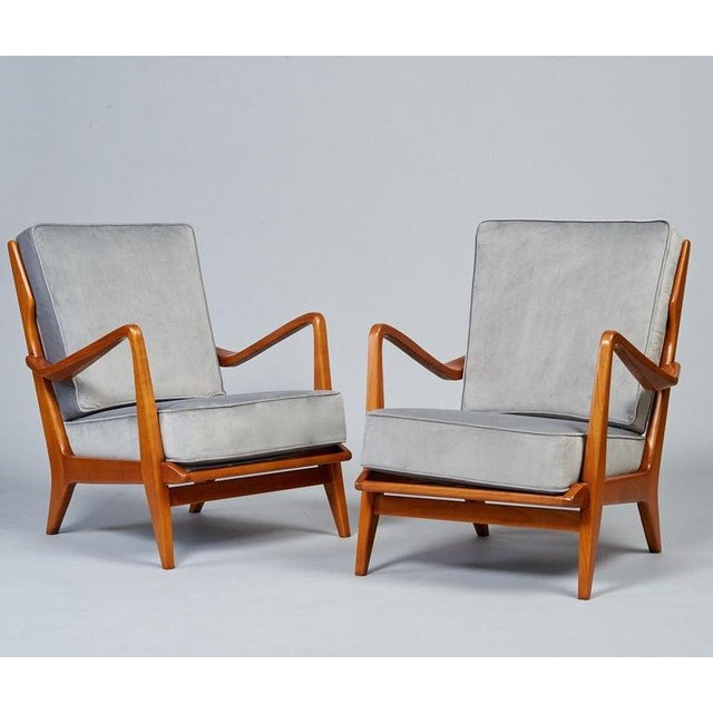 Gio Ponti 1950s Vintage Gio Ponti Exquisite Pair of Sculptural Armchairs- A Pair For Sale - Image 4 of 11