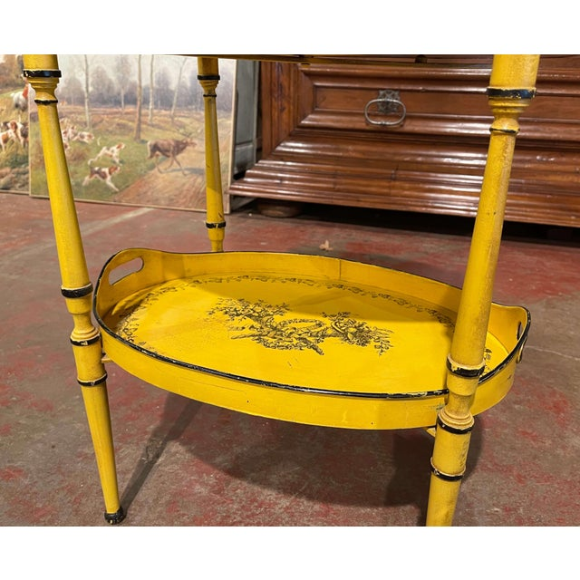 Mid-Century French Hand Painted Three-Tier Tole Side Table For Sale In Dallas - Image 6 of 9