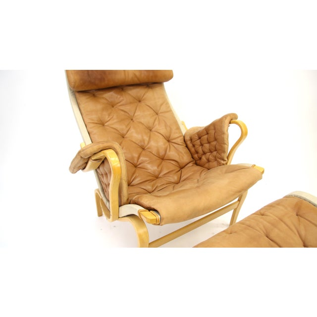 Tan Bruno Mathsson Dux of Sweden Pernilla Chair & Ottoman f For Sale - Image 8 of 10