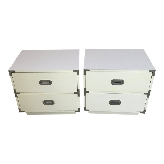 Vintage Dixie Campaign Hollywood Regency Nightstands - a Pair For Sale