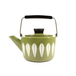 """Cathrineholm Norwegian Mid-Century """"Lotus"""" Green Enamel Kettle Teapot For Sale"""