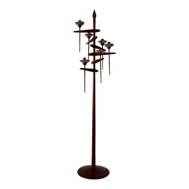 1960s James Martin Carved Walnut Floor Candelabrum For Sale