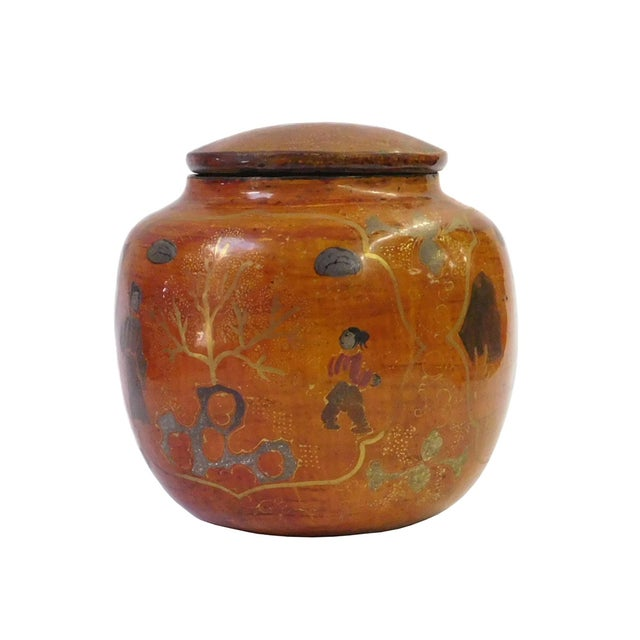 Chinese Brown Lacquer Painted Container - Image 1 of 8