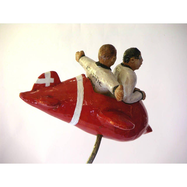 "Not Yet Made - Made To Order Contemporary Italian ""Flying Guys in Airplane"" Red White Sculpture by Ginestroni For Sale - Image 5 of 8"
