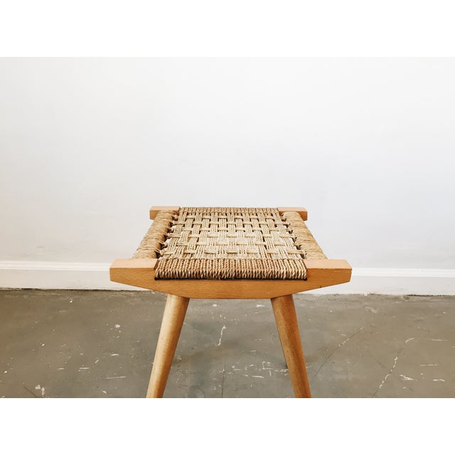 Mid-Century Modern Mid Century Woven Stool For Sale - Image 3 of 3