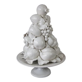 Large Italian White Creamware Fruit Topiary Centerpiece For Sale