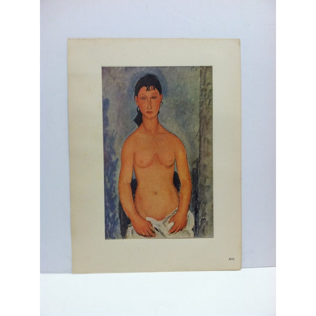 "1947 Vintage ""Elvire Nue"" Modigliani French Mounted Color Print For Sale - Image 4 of 4"