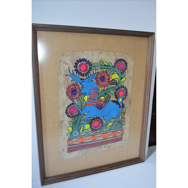 Otomi Mexican Folk Art Amate Painting For Sale In Houston - Image 6 of 8