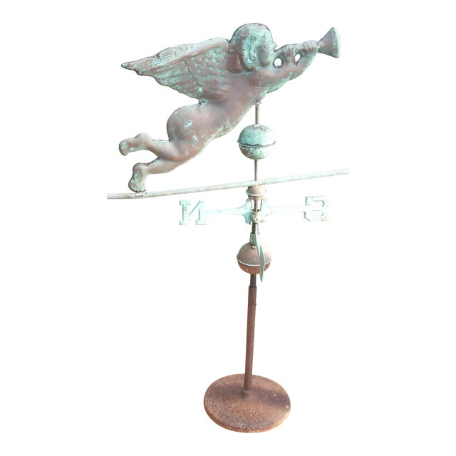 Late 19th Century Antique Horn Blowing Angel Weathervane For Sale