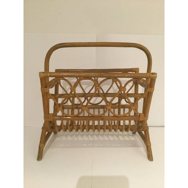 Wood Vintage Boho Chic Rattan Magazine Rack For Sale - Image 7 of 7