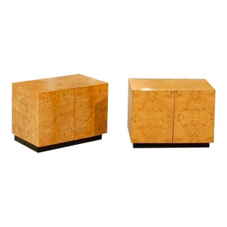 Beautiful Pair of Vintage Bookmatched Olive Wood End Tables or Night Stands For Sale
