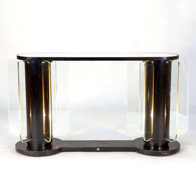 French Art Deco Ebonized Mirror Top Illuminated Console - Image 2 of 5