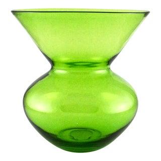 Vintage Translucent Hand Blown Lime-Green Vase For Sale