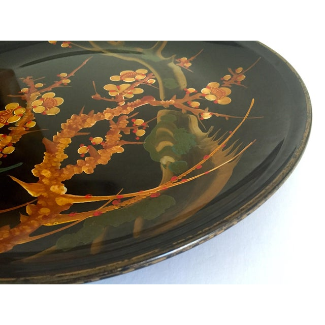 Various Artists Vintage Mid Century Japan Hand Painted Flower Branch Blossoms Large Round Lacquer Tray Platter For Sale - Image 4 of 13
