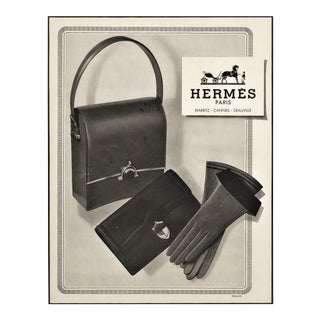 1950 French Hermes Advertisement Print,Matted For Sale