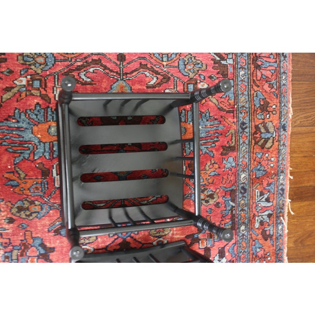 Antique Pair of Black Thebes Liberty & Co Style Arts and Crafts Stools For Sale - Image 12 of 13