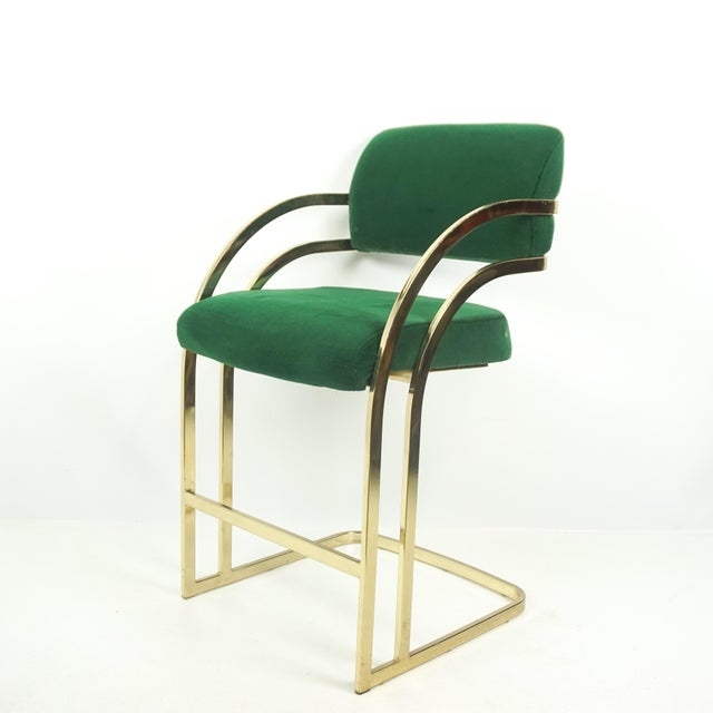 Contemporary Comtemporary Shell Brass Cantilever Bar Stools - a Pair For Sale - Image 3 of 11