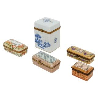 Peint Main Limoges Boxes - Set of 5 For Sale