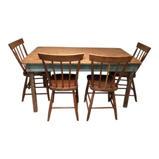 Vintage Rustic Distressed Farm House Dining Set - 5 Pieces For Sale