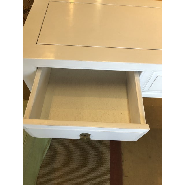 Asian Style Asian Modern White Lacquer 5-Drawer Console Table For Sale - Image 4 of 9