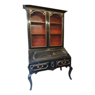 Chinoiserie Secretaire/Bookcase For Sale