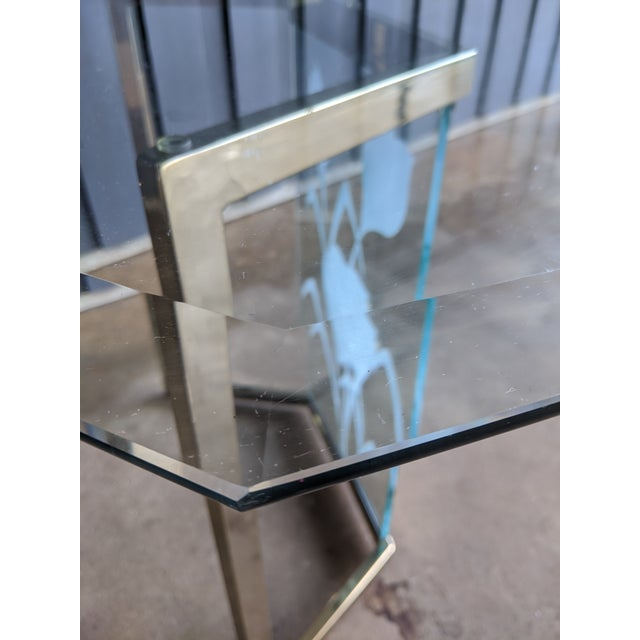 1970s Boho Chic Glass Desk or Dining Table For Sale - Image 10 of 13
