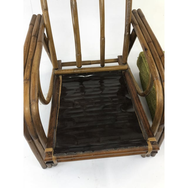 Mid Century Boho Chic Bamboo Lounge Chair With Green Upholstery For Sale - Image 9 of 13