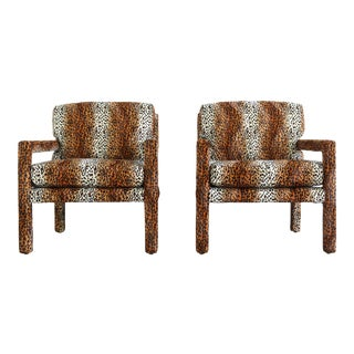 Club Chairs by Milo Baughman for Thayer Coggin in Animal Print, A Set of 2 For Sale