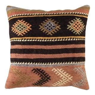 "Pop of Pink Vintage Kilim Pillow | 16"" For Sale"