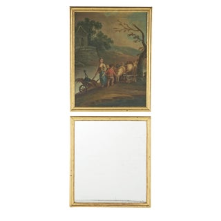 Early 19th Century Gilt Trumeau Mirror with Painting For Sale