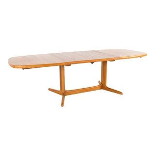 1960s Mid Century Modern Rasmus Teak Expanding Hidden Leaf Dining Table For Sale