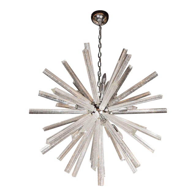 Murano Glass Triedre Chrome Sputnik Chandelier with 24-Carat White Gold Flecks For Sale