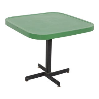 Les Arcs Enameled Green Table by Charlotte Perriand For Sale