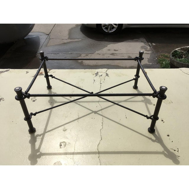 Mid-Century Modern Rectangular Wrought Iron Glass Top Coffee Table After Giacometti For Sale - Image 12 of 13
