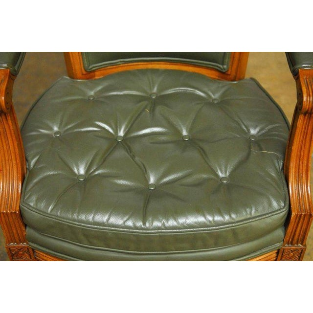 Louis XVI Style Leather Fauteuil Armchairs - A Pair - Image 7 of 10