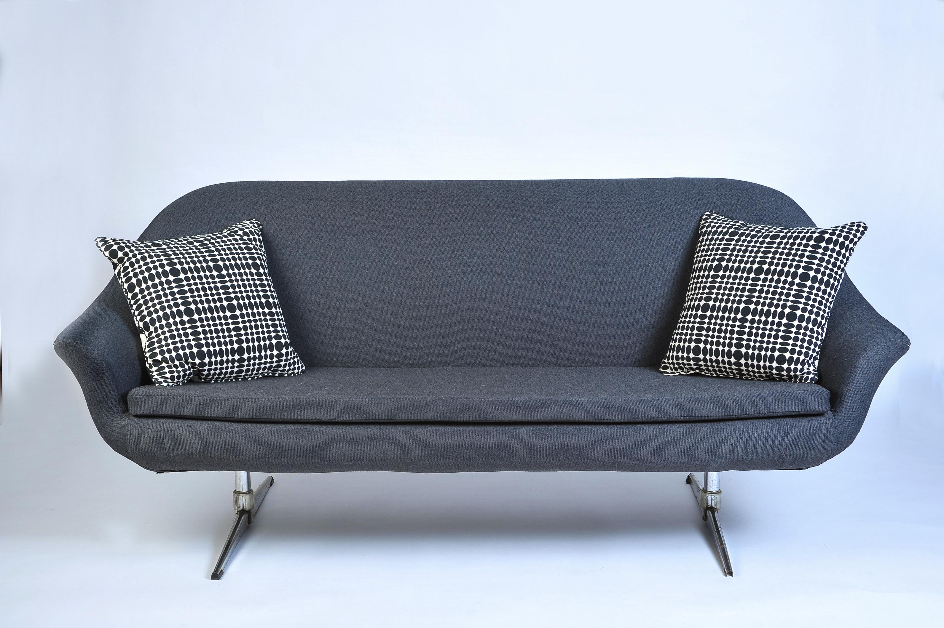 Overman Swedish Mid Century Modern Dark Gray Sofa For Sale   Image 6 Of 9