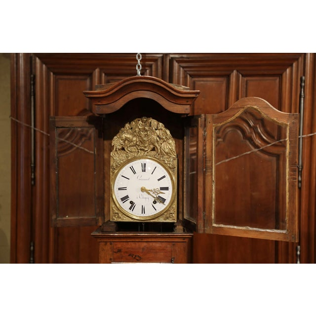 Late 18th Century French Louis XV Carved Burl Walnut Tall Case Clock From Lyon For Sale In Dallas - Image 6 of 13