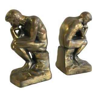 Vintage Brass Toned the Thinker Bookends