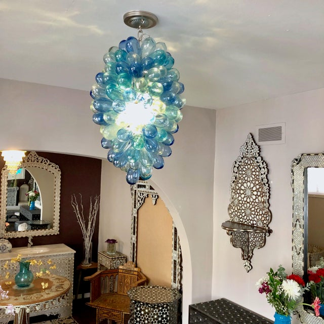 Shades of Blues Handblown Glass Light Fixture For Sale - Image 9 of 11