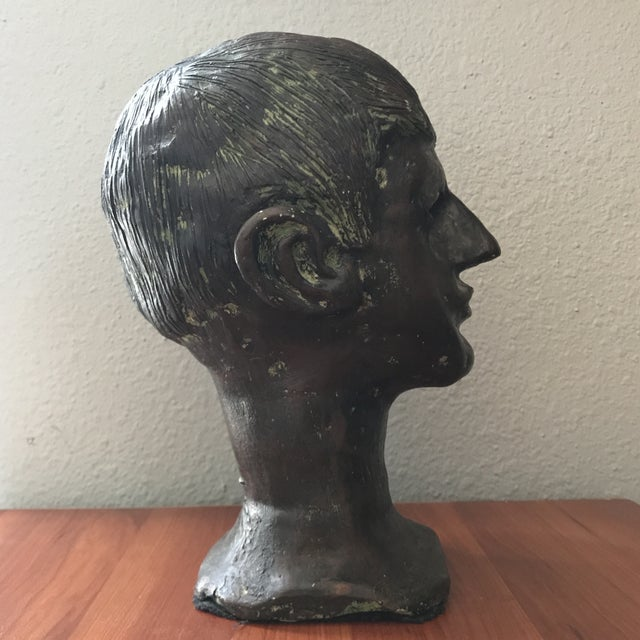 Vintage handcrafted male bust. Unique decor accent piece in a bronze and patina coloring.