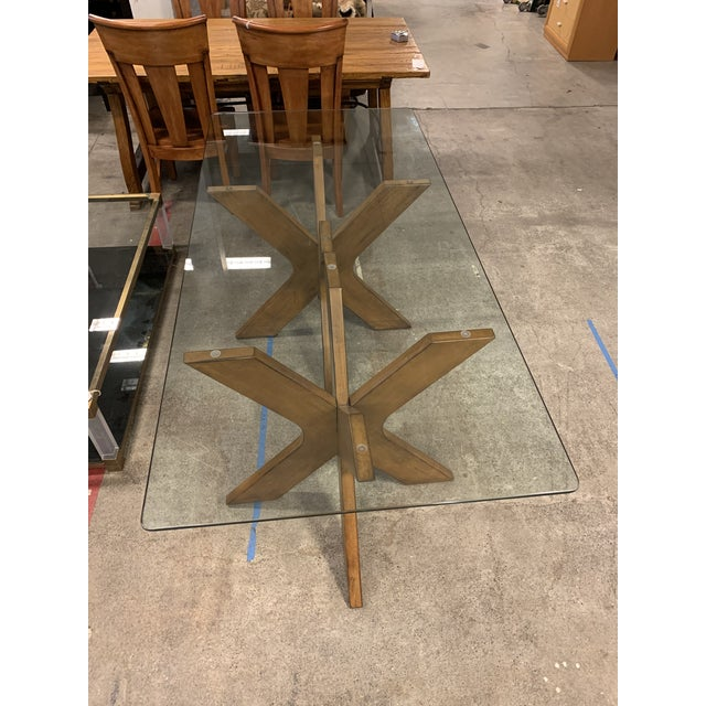 Wood West Elm Double Pedestal Wood X Base + Glass Top Table For Sale - Image 7 of 8