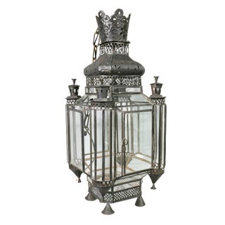 Moroccan Black Painted Tole Hall Lantern For Sale