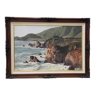 California Coastal Seascape Oil Painting by Weber C.1970s For Sale